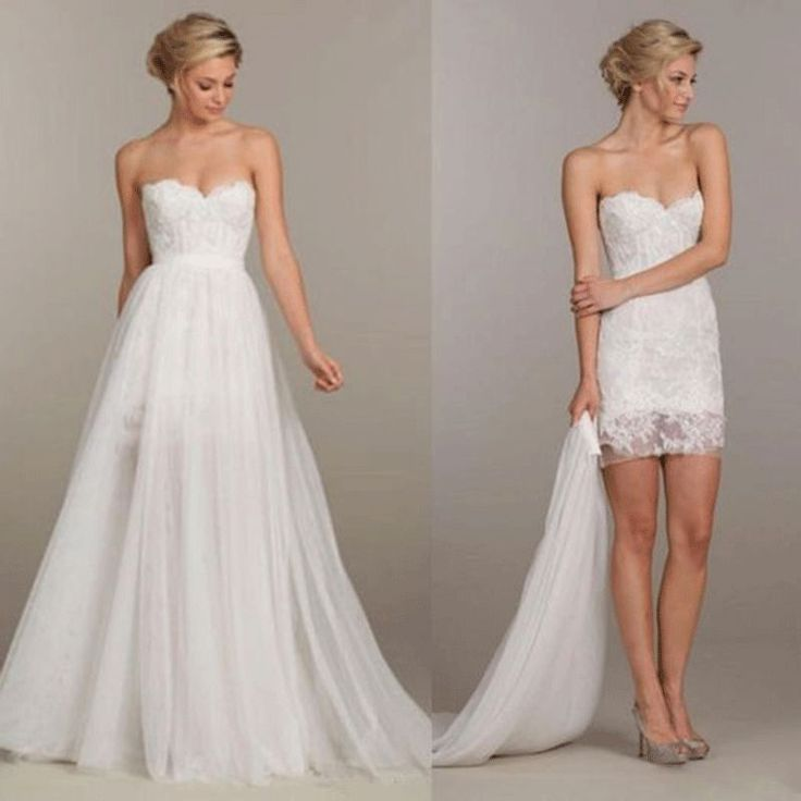 love simple romantic whiteivory lace 2 in 1 wedding dress lace strapless detachable skirt