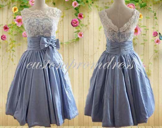 Luce blu breve vestito da Promenade, bianco/avorio pizzo Prom Dress, Homecoming Dress, Abiti da Damigella, vestito da partito, personalizzato per il compratore C1601