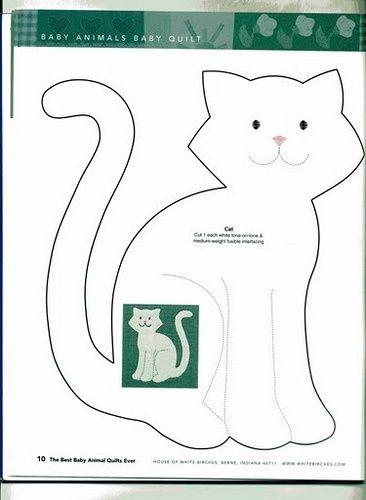 ARTESANATO COM QUIANE - Paps,Moldes,E.V.A,Feltro,Costuras,Fofuchas 3D: molde gatinho plano - baby animals quilt