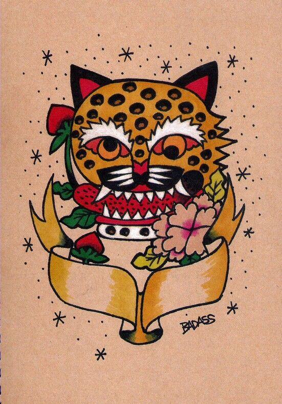 Tiger and Moran flower  Korean folk art style tattoo design. By Badass Tattoo. Seoul. korea