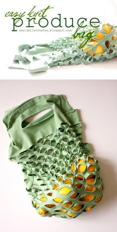 Upcycle your T-shirts into a Produce bag with this easy DIY Tutorial!
