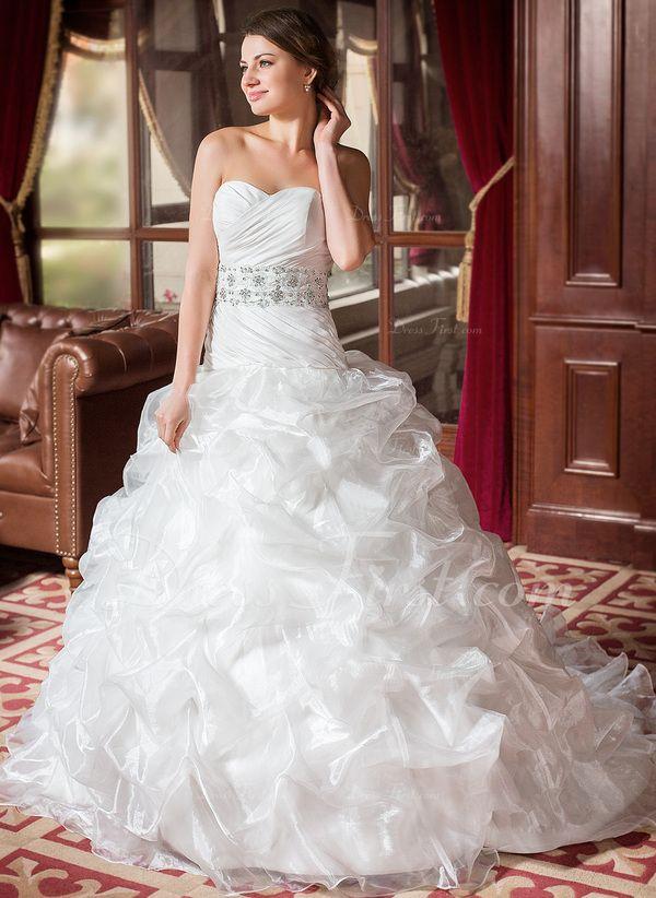Plesové Srdcový výstřih Kostelní vlečka Taft Organza Svatební šaty S Volán Krajka Zdobení korálky Flitry (002011636) - DressFirst