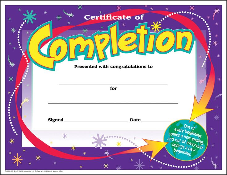 30 Certificates Of Completion (large) Certificate Award Pack By TREND  Certificate Of Completion Template Free