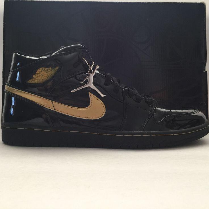DS Nike Air Jordan 1 Black/Gold Patent Leather 2003 Size 13.5