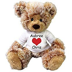 "Personalized Valentine Teddy Bear - 14"" Caramel Bear"