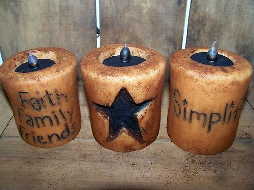 3 Grungy Primitive Spiced Candle Lot Set Early Farmhouse Gathering Prim Decor wv