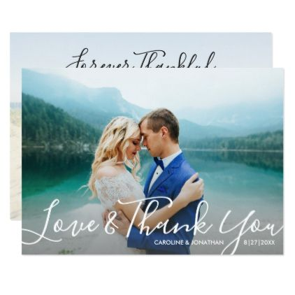 Wedding Photos Love & Thank You Modern Script Card - invitations personalize custom special event invitation idea style party card cards