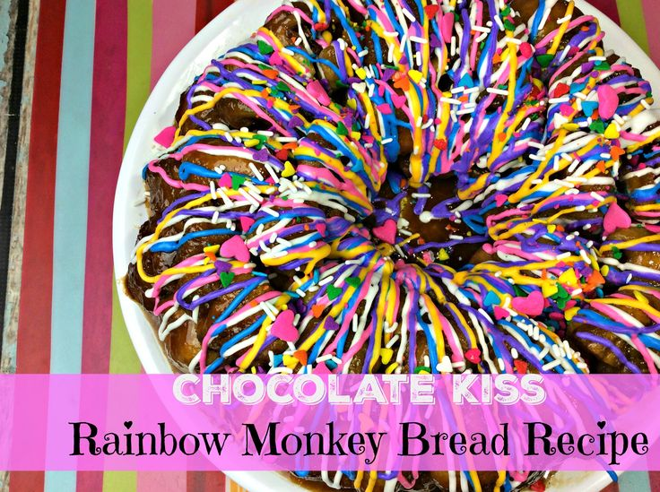 Chocolate Kiss Rainbow Monkey Bread Recipe Made with Biscuit Dough