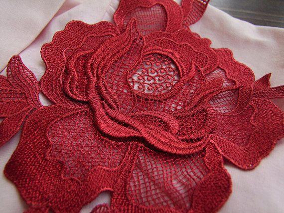 Red Rose Applique 3D Luxury Rosette Applique for by QFabrics, $5.99