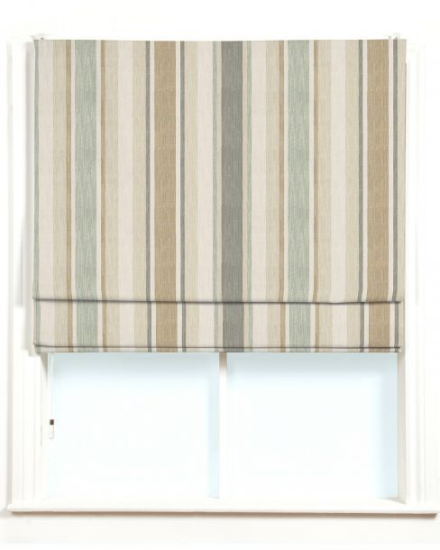 Awning Stripe Biscuit Eau De Nil Made-to-measure Roman Blind