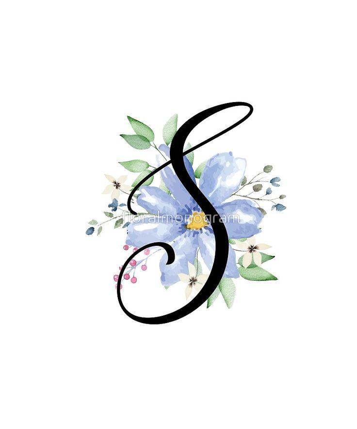 Monogram S Beautiful Watercolor Blue Flower Sticker By Floralmonogram In 2021 S Monogram Watercolor Galaxy Watercolor Paintings