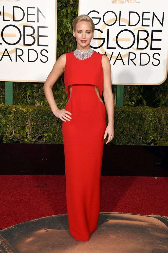 Jennifer Lawrence in Dior Couture and Chopard jewels on the 2016 Golden Globes Red Carpet.