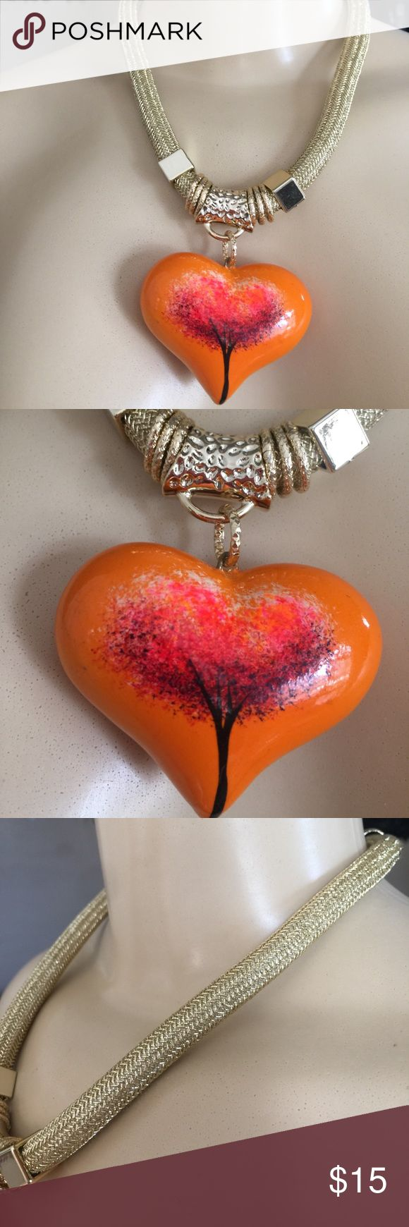 """17"""" women's ceramic heart hand painted necklace Beautiful women's 17"""" women's ceramic heart hand painted necklace autumn (orange). Fabric Wrapped Choker Necklace .Details in golden color .Made in Mexico Jewelry Necklaces"""