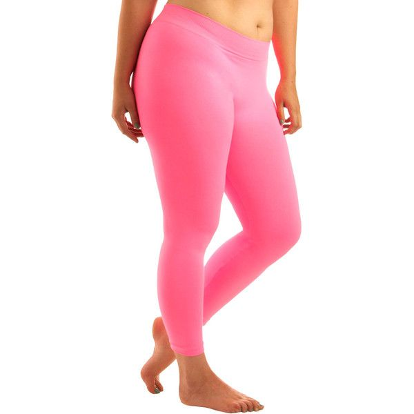 Perfect Pairing Leggings In Neon Pink - Plus Size ($20) ❤ liked on Polyvore featuring pants, leggings, bottoms, jeans, women, pink pants, nylon leggings, stretchy pants, seamless leggings and holiday leggings
