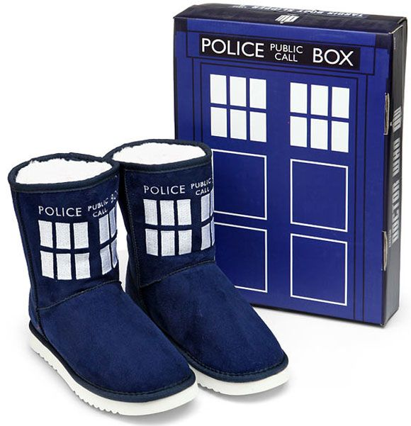 Doctor Who TARDIS Boot Slippers (USA) – Merchandise Guide - The Doctor Who Site (Morgan would love theses)