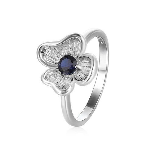 0.34 ct Created Blue Sapphire Silver Ring