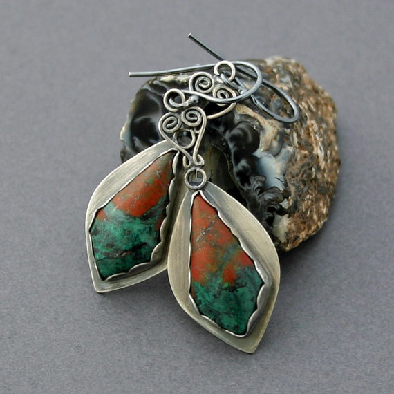 Sonoran Sunset Chrysocolla Earrings Silver by caroleaxium on Etsy, $89.00: Jewelry Jewelry Jewelry, Note Worthi Jewelry