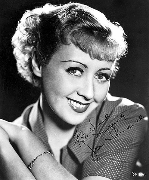 American actress Joan Blondell, in a signed publicity photo from 1936.