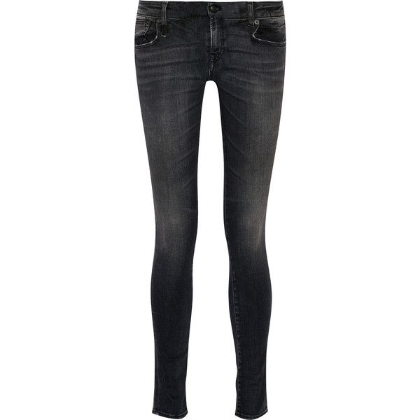 R13 Alison mid-rise skinny jeans ($295) ❤ liked on Polyvore featuring jeans, black, mid rise skinny jeans, faded black jeans, super skinny jeans, skinny fit jeans and stretchy skinny jeans
