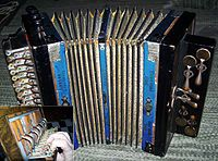 A button accordion is a type of accordion on which the melody-side keyboard consists of a series of buttons rather than piano-style keys. There exists a wide variation in keyboard systems, tuning, action and construction of these instruments. For example:  The chromatic button accordion  The diatonic button accordion