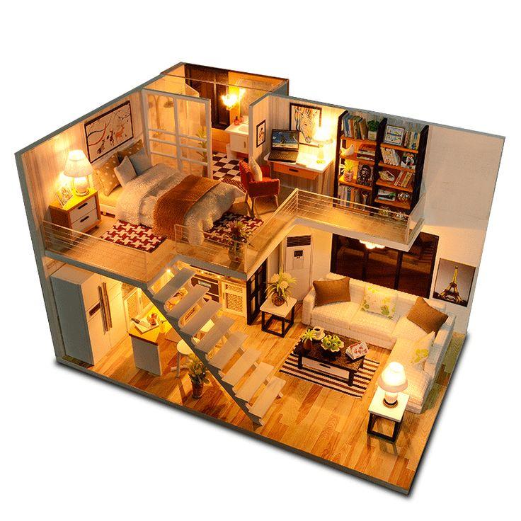 Ucuz CUTEBEE bebek evi minyatür Dollhouse mobilya kiti ahşap ev Miniaturas ile…