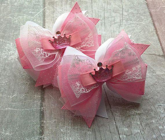 Pink bow Princess hair bow Baby crown Birthday bow Hair clip