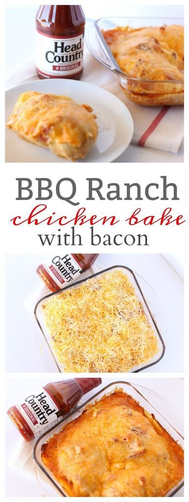 BBQ Ranch Chicken Bake with Bacon using Head Country BBQ Sauce. This one dish casserole is easy to put together. Try making this as a quick week night meal.