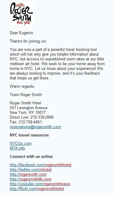 L'Importanza della Firma in una Email: Esempio del The Roger Smith Hotel link: http://www.scoop.it/t/come-usare-i-social-media-nella-filiera-del-turismo/p/2048396174/l-importanza-della-firma-in-una-email-esempio-del-the-roger-smith-hotel