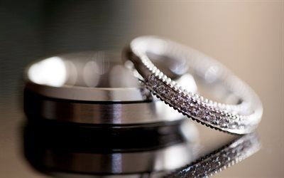 Scarica sfondi matrimonio, anelli di nozze, obrocki, in oro bianco, anelli di fidanzamento