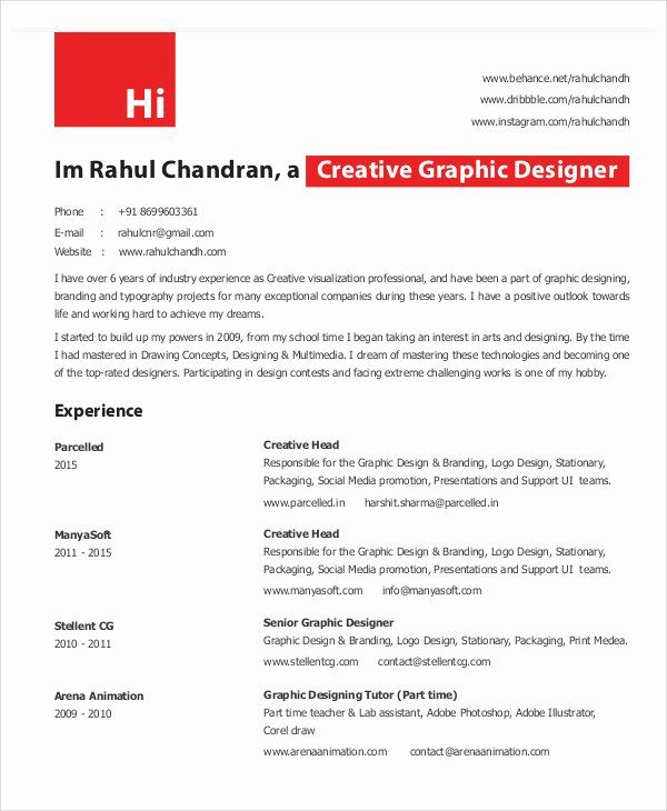 Graphic Designer Resume Pdf Elegant Graphic Designer Resume In 2020 Resume Design Graphic Design Resume Graphic Designer Resume Template