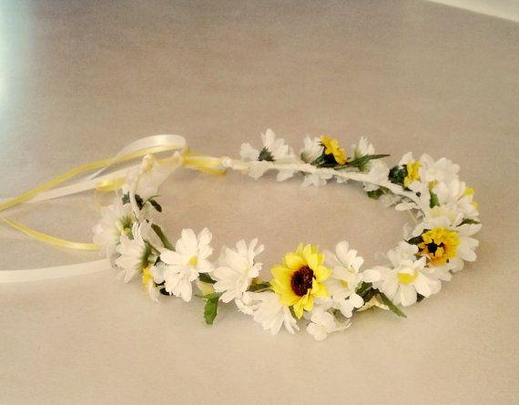 Sunflower Daisy flower crown yellow hair wreath by AmoreBride, $45.00