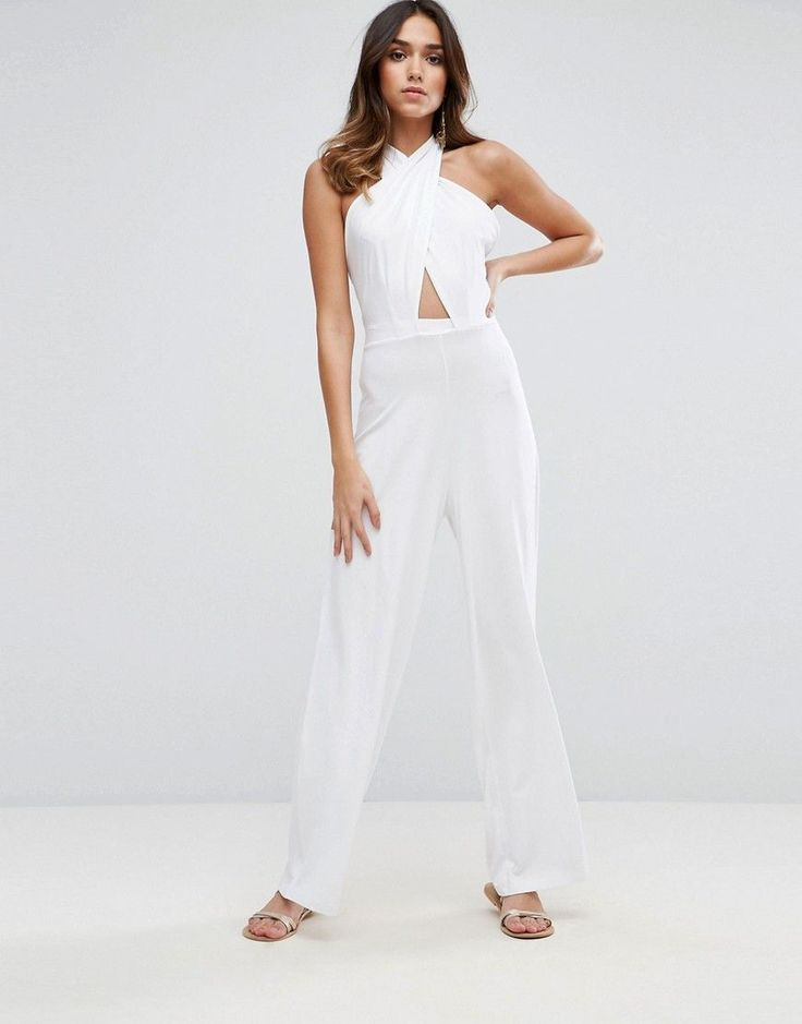ASOS Jersey Jumpsuit with Cross Front and Super Wide Leg - White