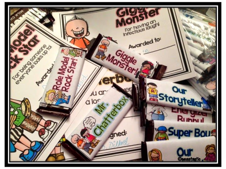 End of the Year Awards-Updated! Awards discounted for teacher appreciation week!! Full page color or black & white awards + matching candy bar wrappers for each award! Bonus award tracking sheets & voting slips!!!! #seusstastic