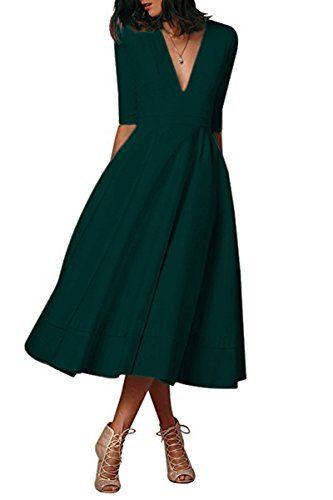 52ec3b650022a YMING Femme Robe Col V Manches 3 4 Robe de Bal Style 1950 Audrey Hepburn