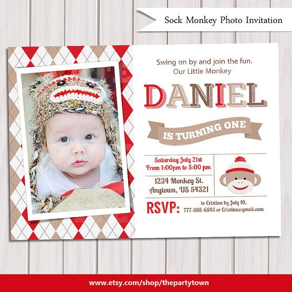 SOCK MONKEY INVITATION sock monkey invite by ThePartyTown on Etsy
