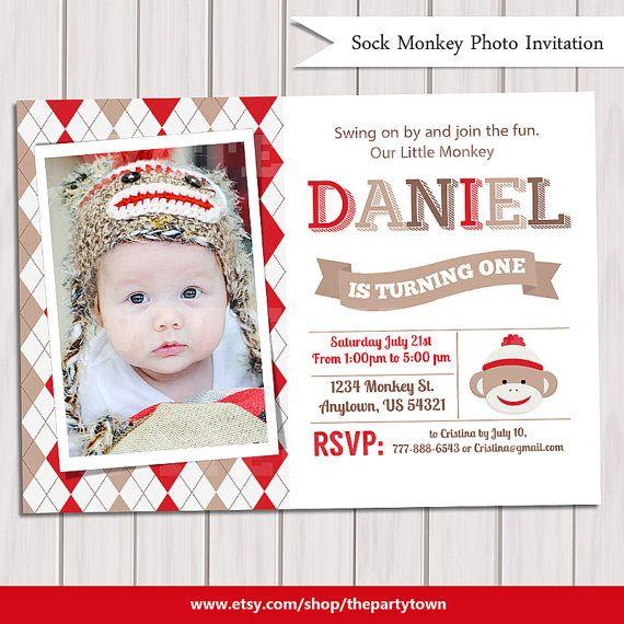 SOCK MONKEY INVITATION sock monkey invite by ThePartyTown on Etsy, $10.00