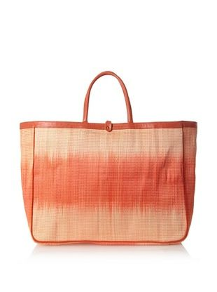 60% OFF Florabella Women's Cascais Buntal Straw and Leather Tote, Papaya