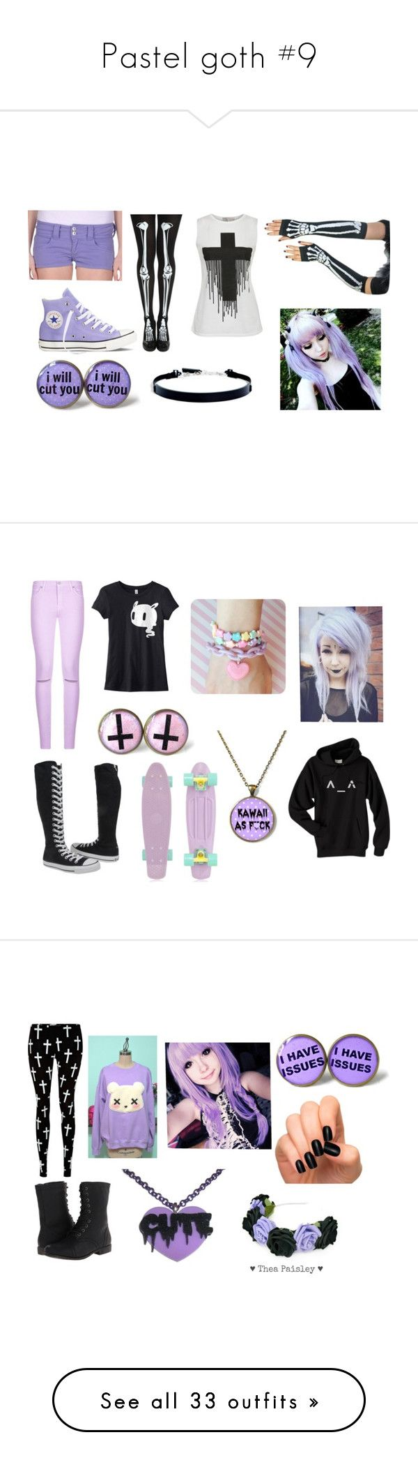 """""""Pastel goth #9"""" by ironically-a-strider21 ❤ liked on Polyvore featuring Cellar Door, Converse, Cameo Rose, DKNY, women's clothing, women's fashion, women, female, woman and misses"""