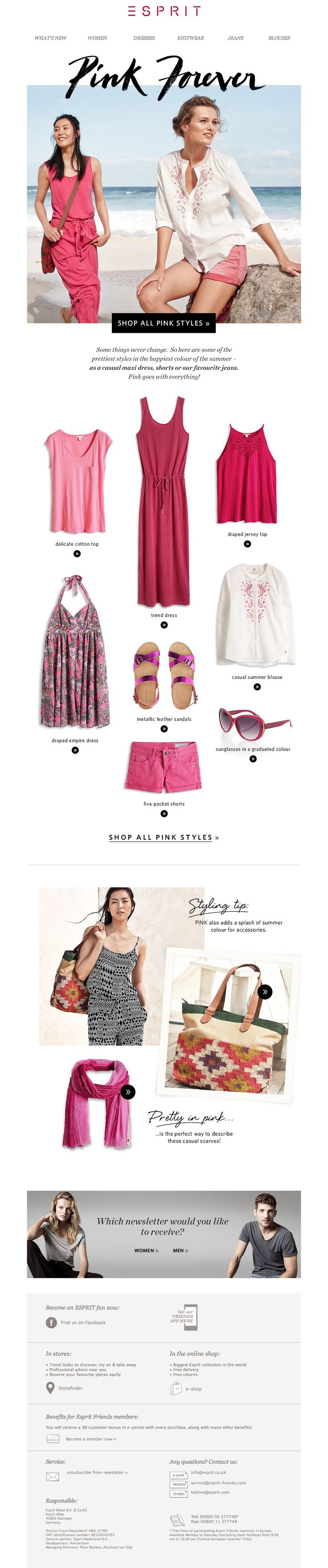 #newlsetter Esprit 06.2014 Summer pink – good mood styles!