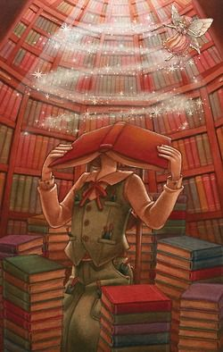 Transported by the smell of books, the magic of books and the feel of turning a new page.