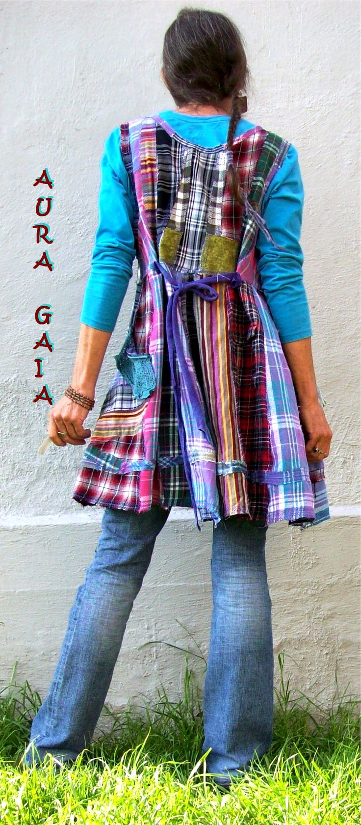 AuraGaia ~ Flannel Layering Tunic Top Dress Upcycled Poorgirl fits S-L; 3 pockets; patchwork ;rawedged tattered stitched madly seams; adorned with overdyed vintage doily, snippets of tulle, lace, buttons, beads. plaids & stripe in purple, pink, green, black, tan, turquoise, moss, burgundy, marigold, brown, white, red,gray. Hand stitching. empire waist. back ties are hemp jersey knit. loose comfy fit