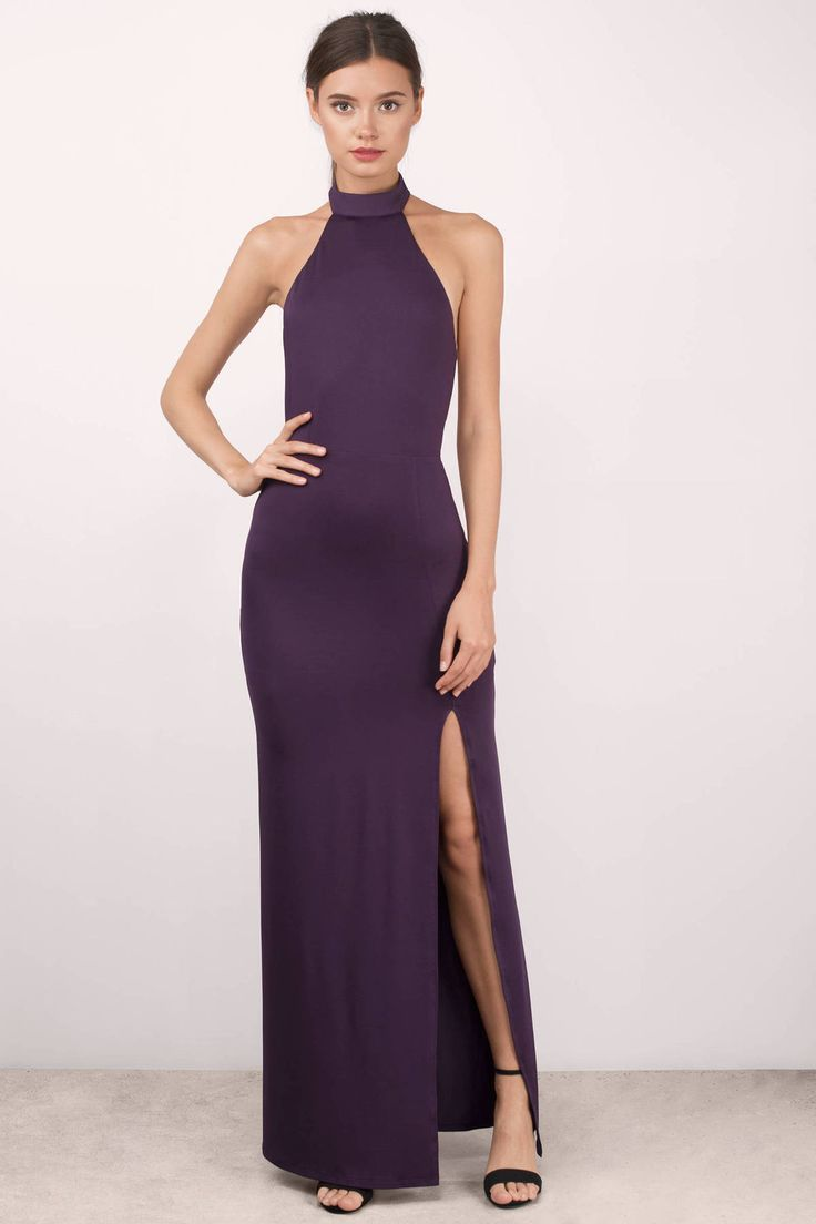 """Search: """"Sayge Plum Maxi Dress"""" on Tobi.com now! high neck slit maxi gown prom tight form fitting body waist open back dance wedding guest destination black tie gala"""