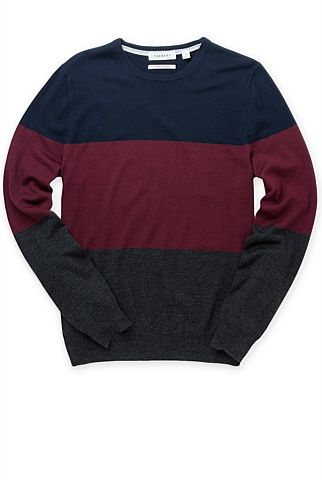 Merino Block Striped Crew Knit