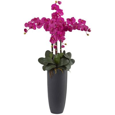 Nearly Natural Phalaenopsis Bullet Orchid Arrangement in Planter Flower Color: