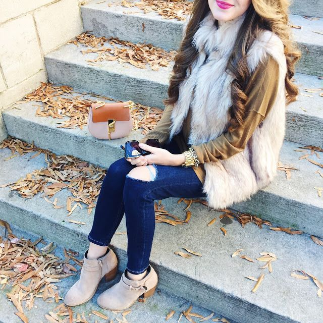 love this look and the faux fur vest is on sale!