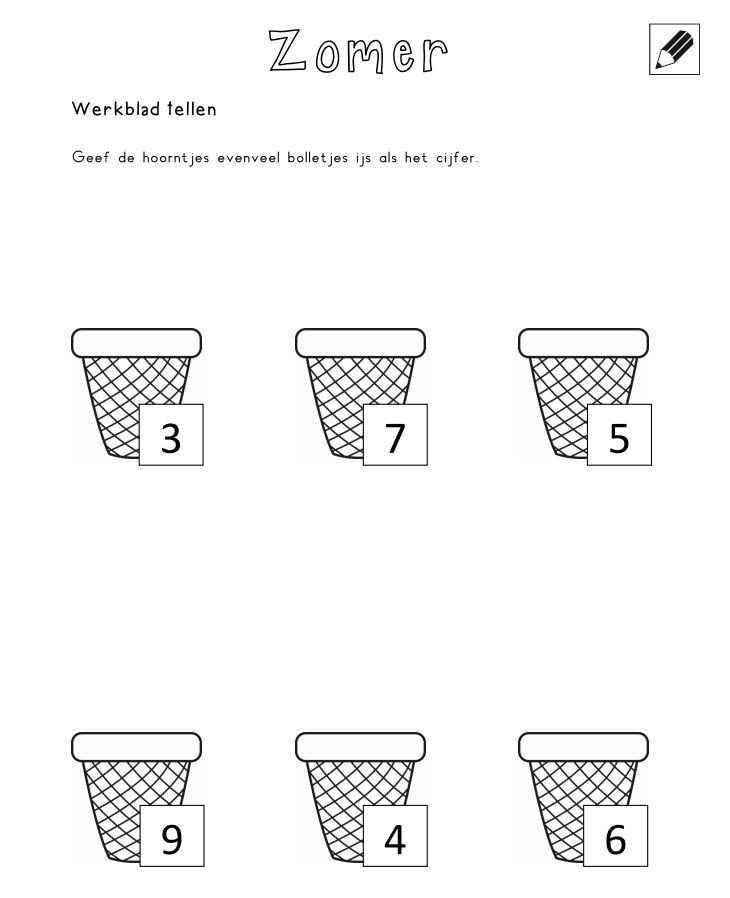 Tellen - Geef de hoorntjes evenveel bolletjes ijs als het cijfer [jufshanna.nl]