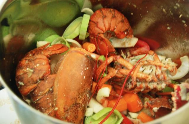 A recipe for lobster stock or lobster broth. This is a great way to use the leftover shells and bodies of either Maine or spiny lobsters.
