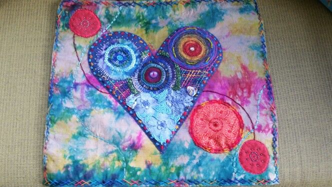 Embroidered beaded wall hanging