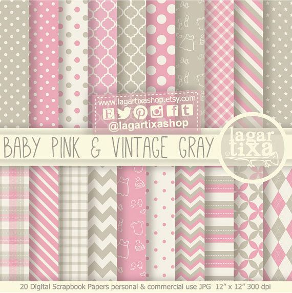 Pale Pink and Vintage Shabby Chic Grey Gray Digital Paper Scrapbooking for baby shower invitations backgrounds patterns it's a girl