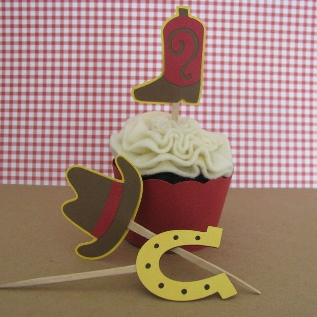 Cowboy Western Theme Cupcake Toppers Set of 12 by mypaperpantry, $9.50